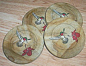 4 Table Coasters Hummingbird Pattern (Image1)