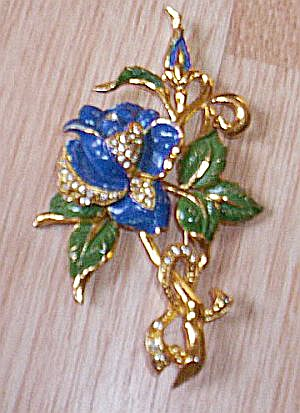 Large Vintage Floral Brooch Blue Rose (Image1)