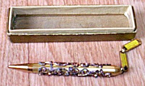 Antique Teacher�s Pendent Pencil Rhinestones (Image1)