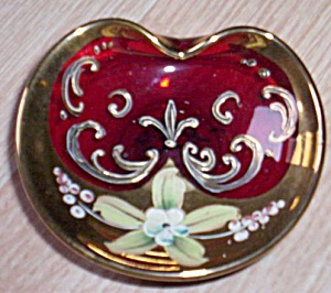 Antique Ruby Glass Trinket Enameled and Gold (Image1)