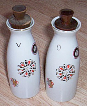 Antique Porcelain Vinegar And Oil Cruets