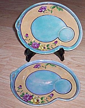 Pair Porcelain Snack Plates Lusterware (Image1)