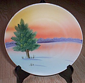 Meito China Hand Painted Porcelain Plate Pine Tree (Image1)