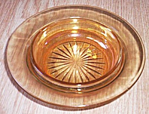 Carnival Glass Round Butter Bottom