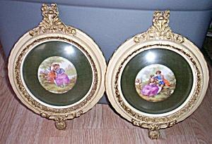 2 Fragonard Porcelain Transfers Plaster Frames (Image1)
