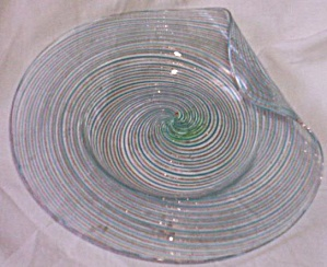 Italian Art Glass Lemon Server Blue Pinwheel (Image1)