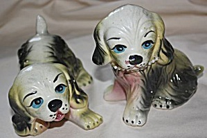 Pair Puppy Figurine W/ Pearl Necklace
