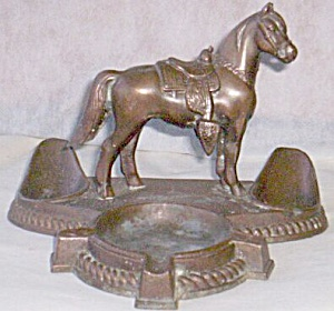Cast Copper Pipe Rest W/ Horse And Ashtray