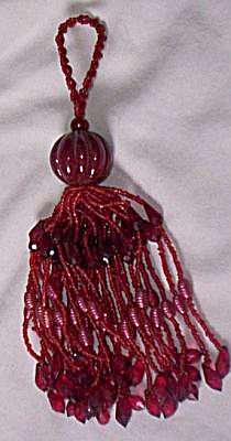 Vintage Beaded Ruby Glass Tassel (Image1)