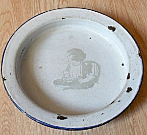 Vintage Child's Enamelware Bowl Child in Highchair (Image1)