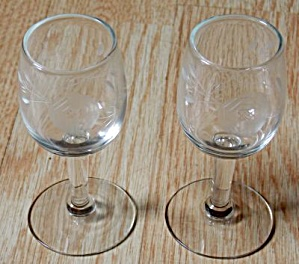 2 Cut Rose Sherry Glasses
