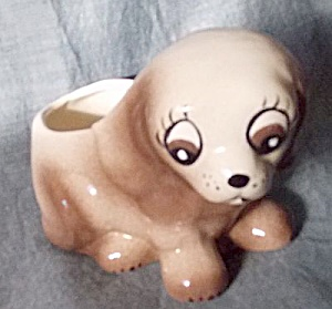 Big Eyed Puppy Figural Planter