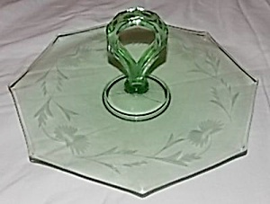 Green Depression Glass Sandwich Tray