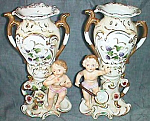 Pair Very Old Stunning Norcrest Vases Cherubs on the Fo (Image1)