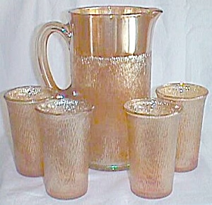 6 Piece Imperial Glass Carnival Water Set Tree Bark Marigold