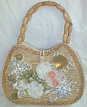 Unusual Vintage Bamboo Purse W/ Floral Shell Front