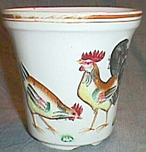 Old Hand Painted Pot Rooster Hen & Chick (Image1)