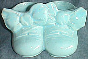 1948 Mccoy Twin Shoes Planter In Blue
