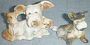 2 Scottish Terrier Figurines 4 Dogs In All