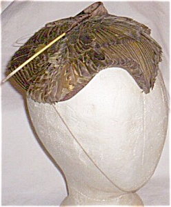 Striking Erna Kasack Old Feather Hat Free Shipping (Image1)