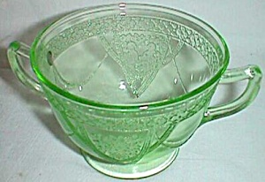 Federal Glass Green Depression Sugar Georgian �Love Bir (Image1)