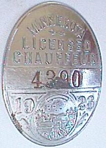 1926 Minnesota Licensed Chauffeur Badge #4390 Free Shipping (Image1)