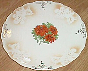Very Old porcelain Plate w/ Poinsettia Transfer Center (Image1)