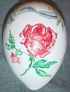 Stunning Hand Painted Hand Blown Glass Egg Roses Free Shipping