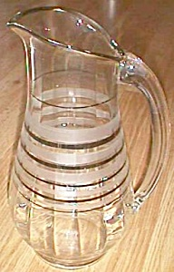 Retro Ice Tea Pitcher Silver Bands