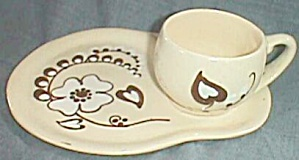 Yellow Ware Snack Set Slip Glaze Flowers