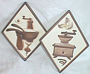 Pair Lefton Kitchen Wall Plaques Coffee Grinder Salad B (Image1)