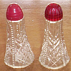 Pair Antique Glass Shakers Zipper and V (Image1)