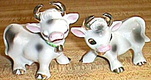 Porcleain Cow Shakers Gold Horns