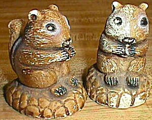 Pair Old Squirrel Shakers
