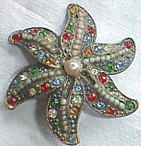Stunning Bejeweled Antique Star Fish Brooch Free Shipping (Image1)