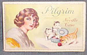 Vintage Needle Book Pilgrim Needles Kittens and Lady (Image1)