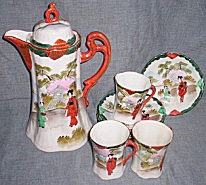 9 Piece Chocolate Set Pot Cups Saucers Geisha Girls (Image1)