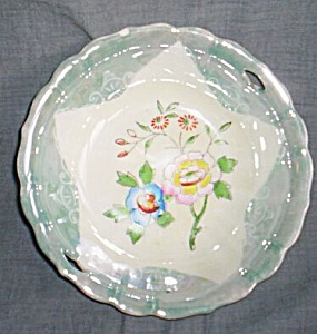 Teal Luster Bowl Star And Flowers