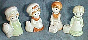 4 Mini Porcelain Country Girl Figurines