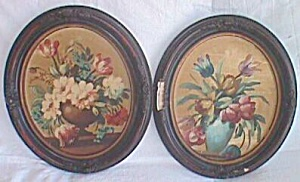 Pair Original Oils In Oval Frames R.blane