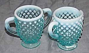 Fenton Blue Opalescent Cream Sugar Set