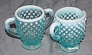Fenton Blue Opalescent Cream Sugar Set (Image1)