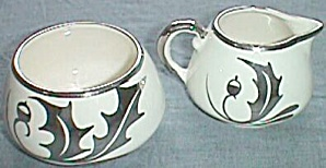 Sandland Ware Cream & Sugar Set Silver Holly Leaves