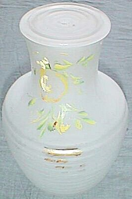 Vintage Satin Glass Refrigerator Juice Jar Hand Painted Fruit