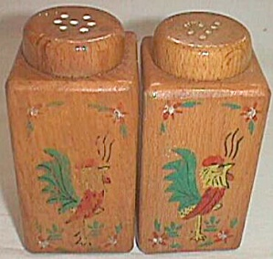 Wooden Salt And Pepper Range Set Rooster Decals