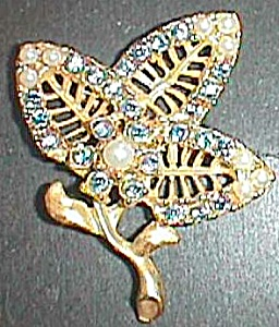 Sky Blue Rhinestone and Faux Pearl 3 Leaf Floral Brooch Free Shipping (Image1)