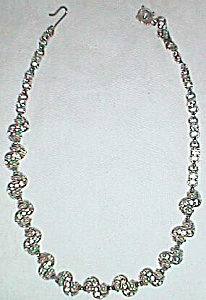 Vintage Rhinestone Faux Pearl Silver Necklace Twist Free Shipping (Image1)