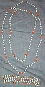 Gorgeous Necklace 4 String Bracelet White Glass Beads Free Shipping