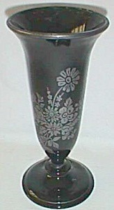 Black Glass Vase Sterling Silver Overlay (Image1)