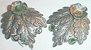 Pair Vintage Dress Clips Large Triple Leaf Green Stones Free Shipping (Image1)